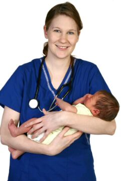 Midwife holding a new born baby